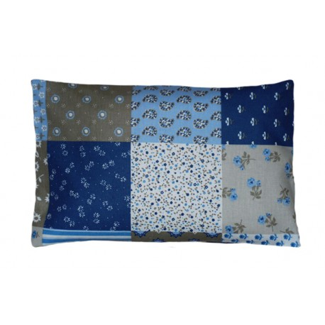Nahřívací polštářek pohankovo/špaldový, potah Modrý patchwork