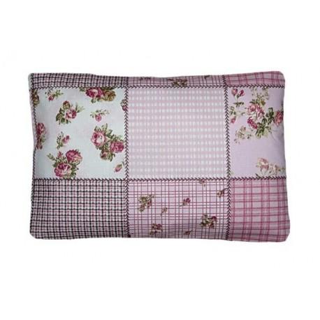 Nahřívací polštářek pohankovo/špaldový, potah Růžový patchwork