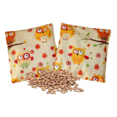 Nahřívací polštářek - třešňové pecky jako obklad, Design třešňového polštářku Sovičky žluté