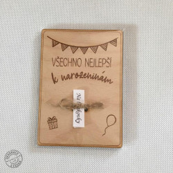 Dřevěné přání k narozeninám