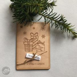 Vánoční dřevěné přání na bankovky