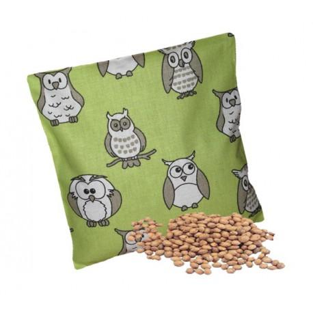 Nahřívací polštářek - třešňové pecky jako obklad, Design třešňového polštářku Zelený se sovičkami