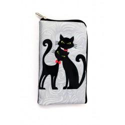 Obal na brýle nebo telefon - 2 černé kočky