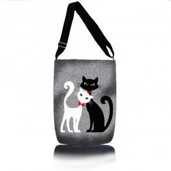 Černobílá kočičí kabelka -šopovka